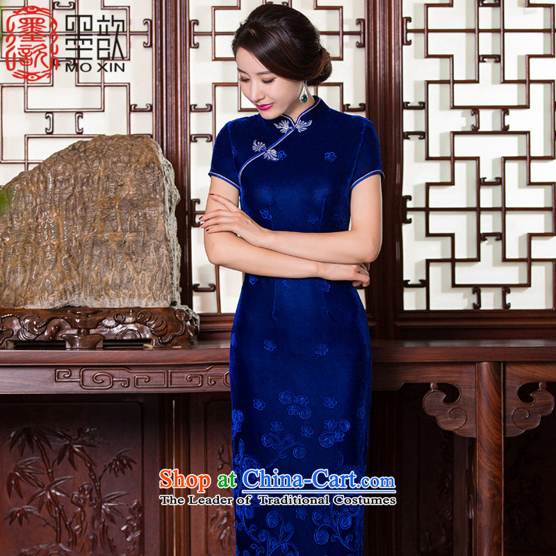 The Hong Kong and?New 2015 �) scouring pads cheongsam dress long antique style qipao gown of older Ms. qipao autumn?QD268-9 Load?Blue?L