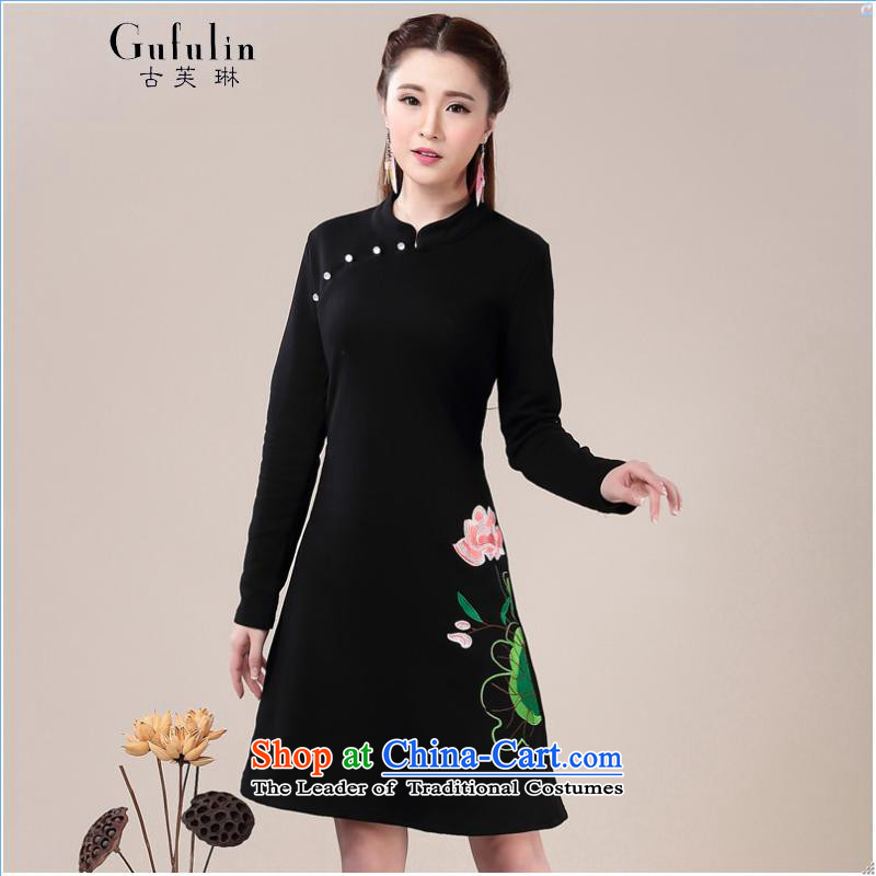 Ancient cheongsam dress Evelyn, improved 2015 Fall/Winter Collections forming the skirt video thin Ms. Sau San long-sleeved dresses qipao black?M