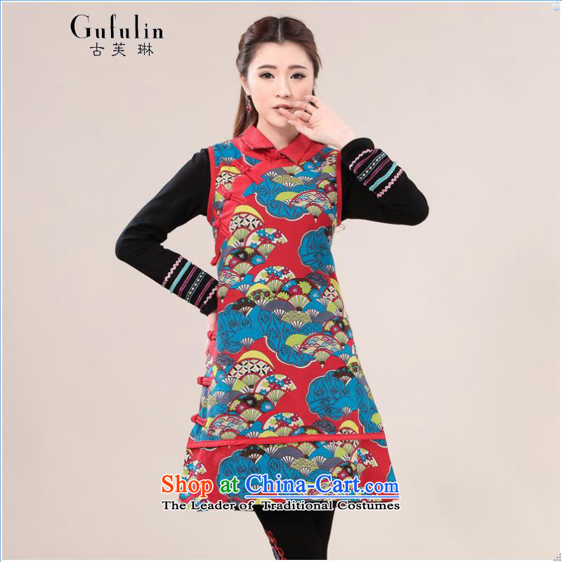 Ancient Evelyn, ethnic women's dresses 2015 Summer new cotton linen china wind Chinese cheongsam dress short skirt vest red dress?2XL