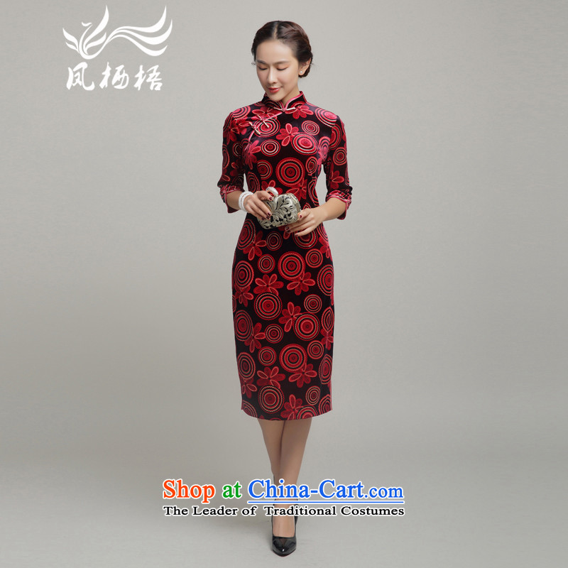 Bong-migratory 7475 Kim scouring pads banquet、Qipao Length of 2015 New autumn replacing fashion, cuff cheongsam dress skirt DQ15212 RED?L