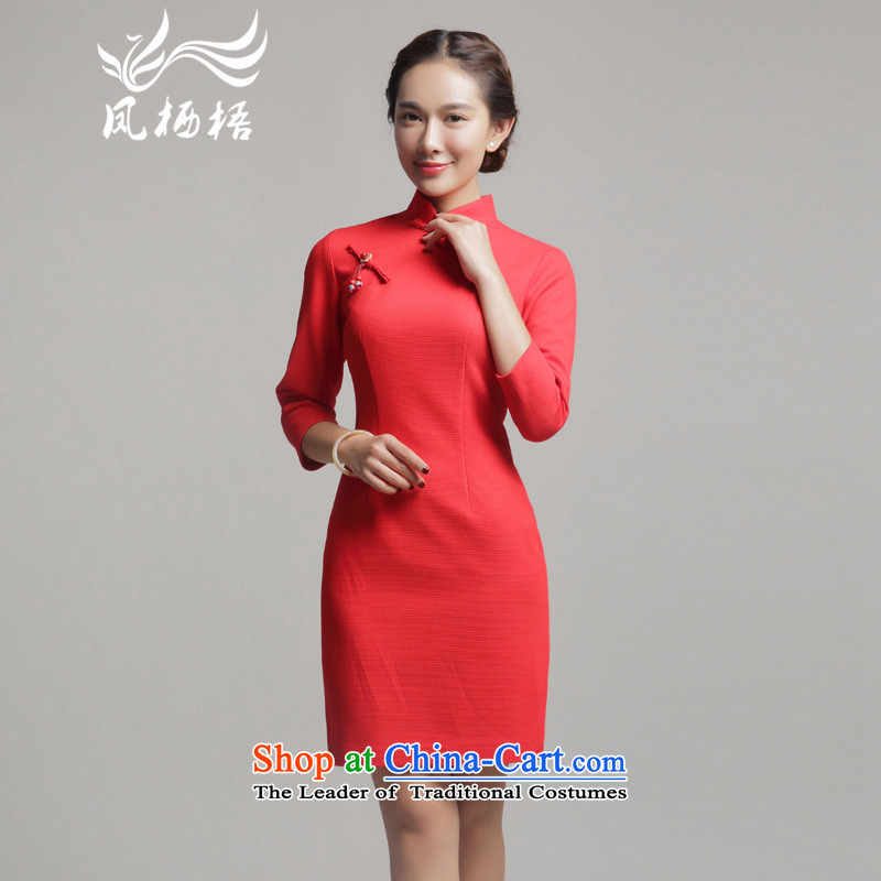 2015 Autumn 7475 migratory Bong-load new retro style qipao qipao retro long-sleeved dresses banquet dress DQ15213 RED?S