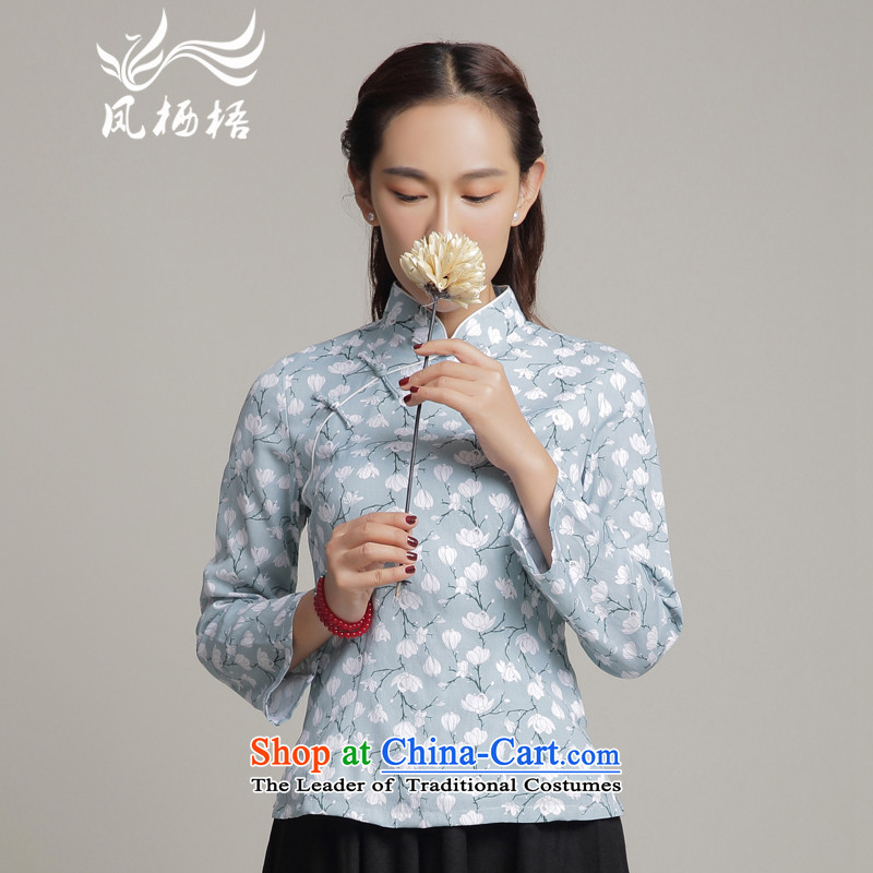 7475 2015 Autumn Fung migratory new stylish shirt qipao retro stamp Sau San Tong long-sleeved blouses DQ15214 SKYBLUE?XL