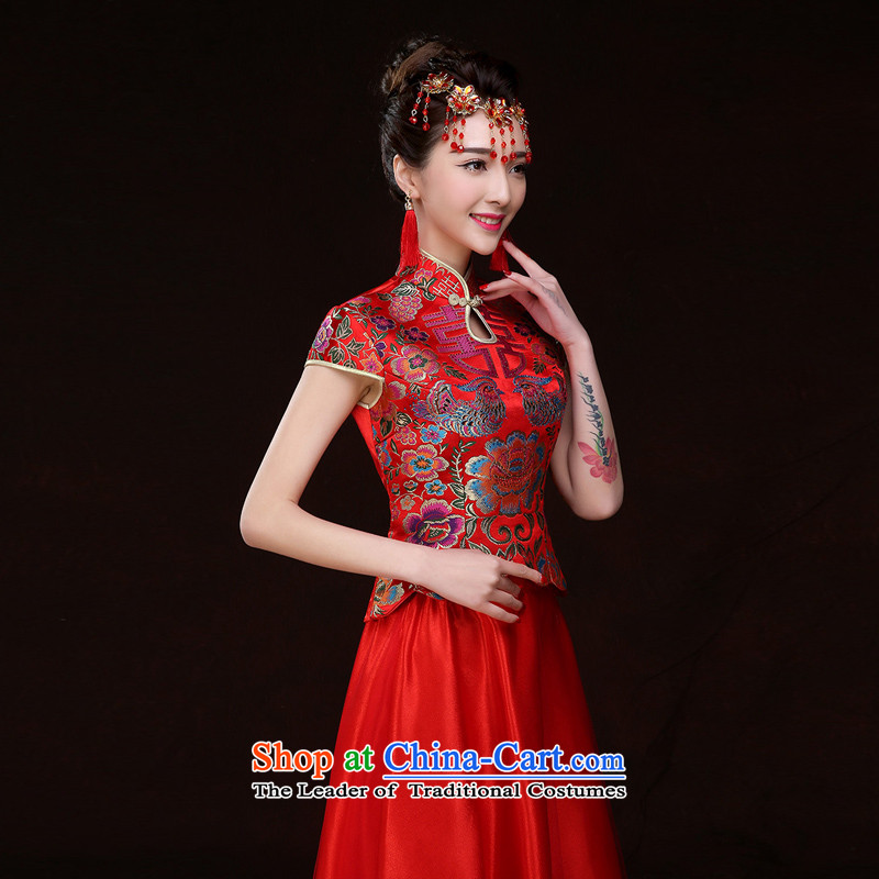 Time the new Syrian qipao gown skirts, 2015 Chinese qipao marriages red long bows services-soo wo service of autumn and winter female red?XL