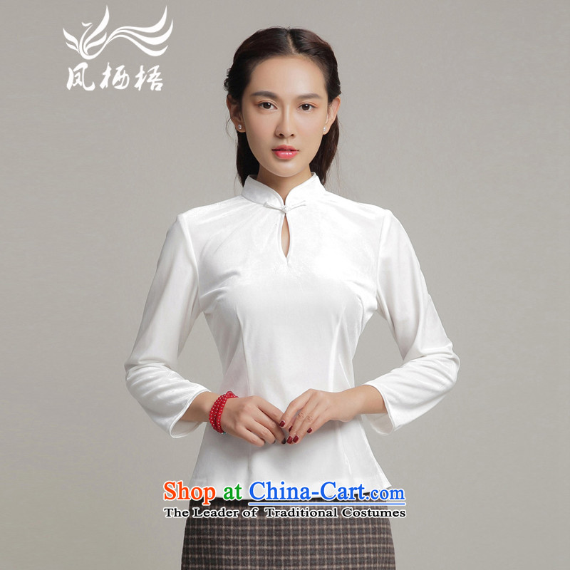 7475 2015 Autumn Fung migratory new stylish shirt qipao scouring pads and sexy long-sleeved blouses DQ15215 Tang Velvet White?L