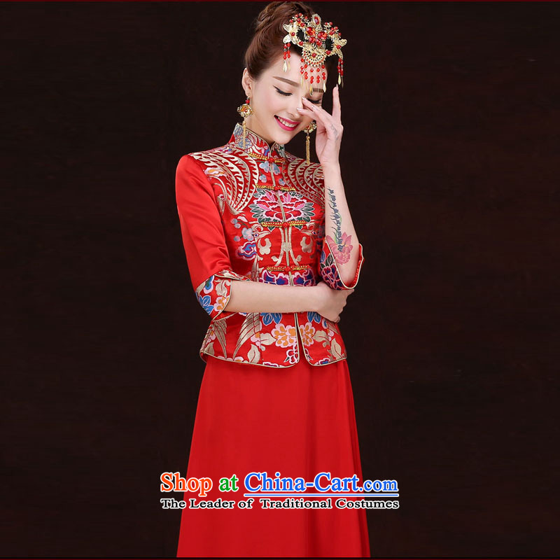 The Syrian brides bows service hour autumn 2015 new marriage women retro cheongsam dress wedding dress Soo-wo service to the dragon use red?L