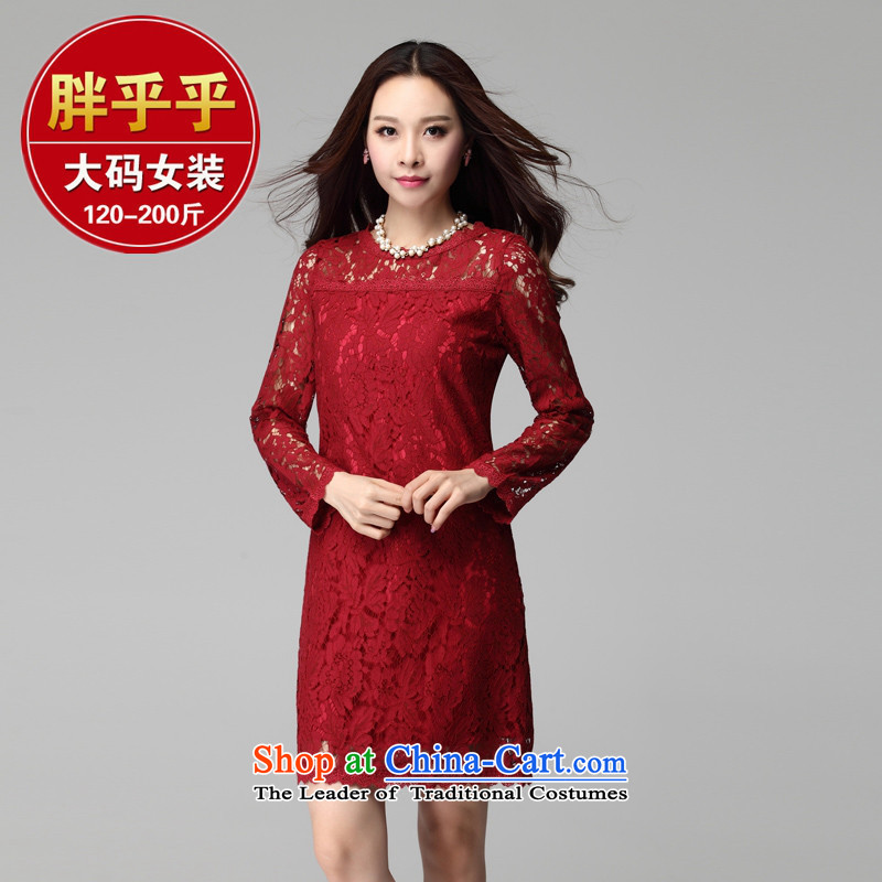 Load New autumn 2015 to xl thick MM lace Sau San dresses wedding dress red XXL