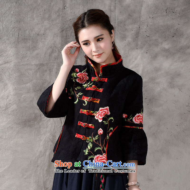 In accordance with the results of the�15 autumn of the new national wind up the clip Tang retro blouses cotton linen loose 9 embroidered short-sleeved jacket 913 Black燤