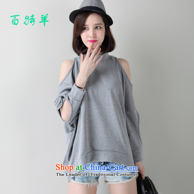 The Black Butterfly autumn 2015 Women's minimalist sexy bare shoulders relaxd bat sleeves t-shirt, forming the large solid color shirt Gray L