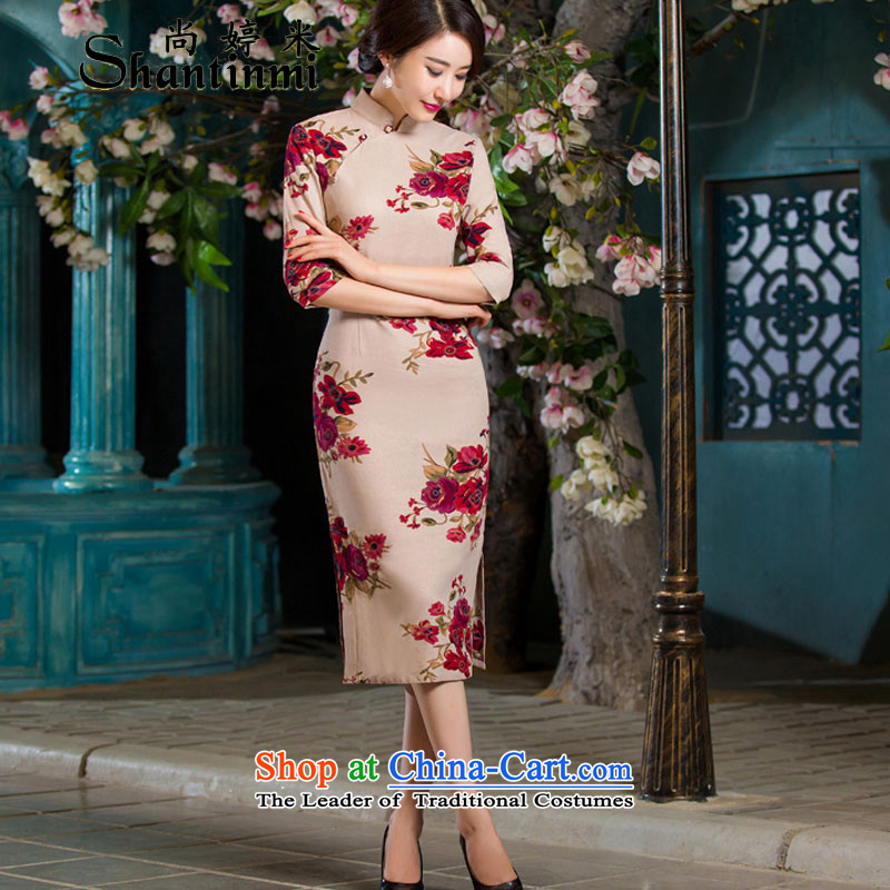 Yet Ting 2015 Autumn replacing retro m graphics in thin cuff Sau San larger improved linen long skirt garden燲XXL Cheongsam