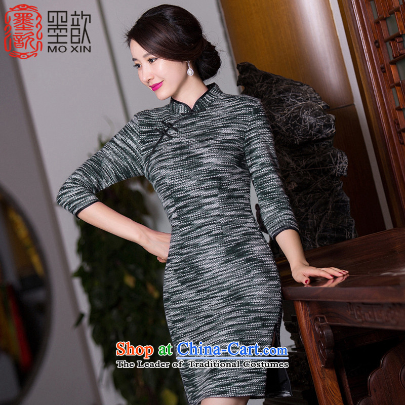 Ink ? Ling Chun�15 new knitted dresses? Boxed autumn gross retro 7 Ms. cuff cheongsam dress Sau San improved cheongsam dress燬
