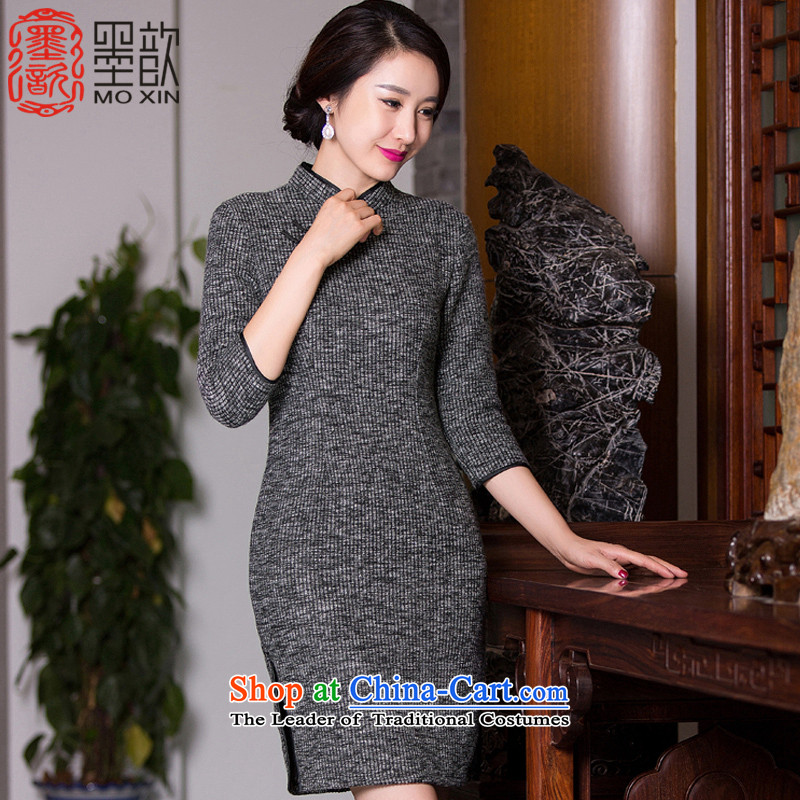 Ink � dream where?new 2015 retro 7 cuff improved qipao autumn knitted dress qipao gross? The skirt Fashion?color photo of Qipao QD273 Ms.?XL