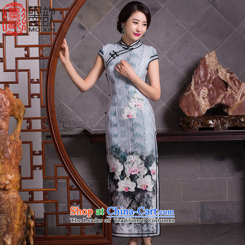 The Night Of 2015 Resiliency ? long qipao autumn new_ Ms. long cheongsam dress cheongsam dress QD274 Stylish retro picture color XXL