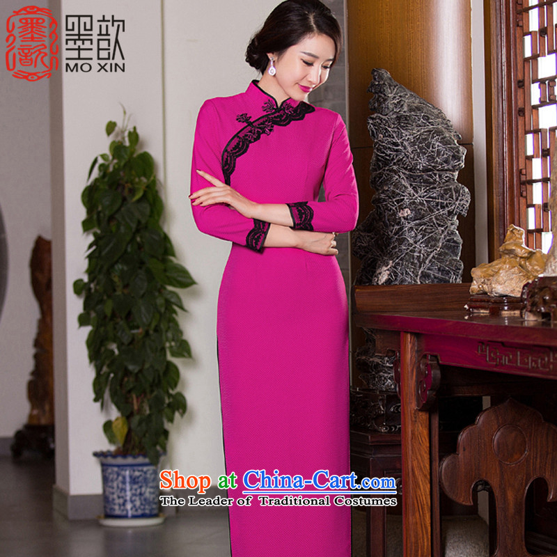 Ink ? Winter 2015 Autumn load qipao spirit new seven-sleeved retro cheongsam dress new stitching qipao gown QD275 Sau San long 276 red better L