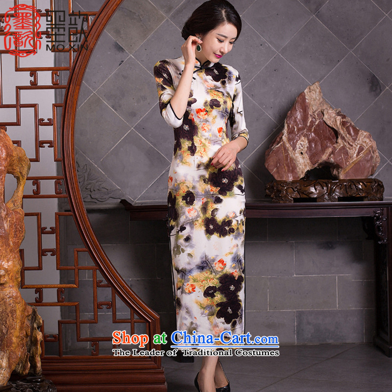 The Dream of the sponsors聽2015 retro 姝� cheongsam dress new autumn replacing Ms. qipao stylish improved dresses qipao gown聽QD277 long聽picture color聽XL