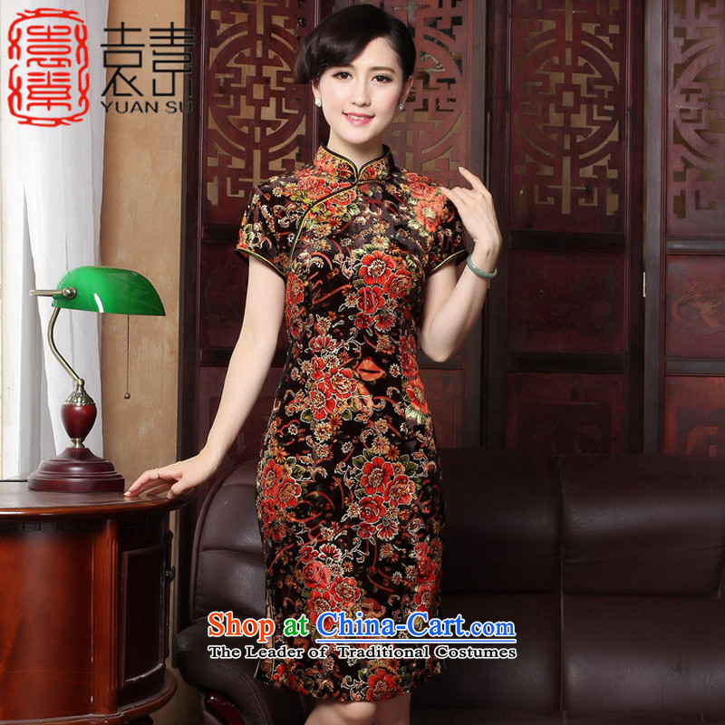 Mr Yuen so gratefully�2015 Kim Choo load improved qipao scouring pads in older cheongsam dress retro fitted cheongsam dress mother temperament�Y3118�picture color�L