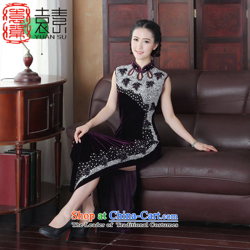 Yuan or so immediate?2015 Kim scouring pads qipao gown retro manually long staples on-chip beads improved cheongsam dress in autumn evening dress?Y3089 Long?Purple?S