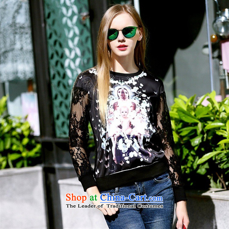 The main new_ Autumn 2015 Female European site stamp sweater round-neck collar engraving gauze long-sleeved shirt black M