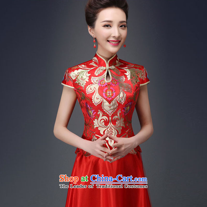 Time the new Syrian_ 2015 skirt cheongsam dress marriages CHINESE CHEONGSAM red long-serving drink Wo Service autumn female red?S