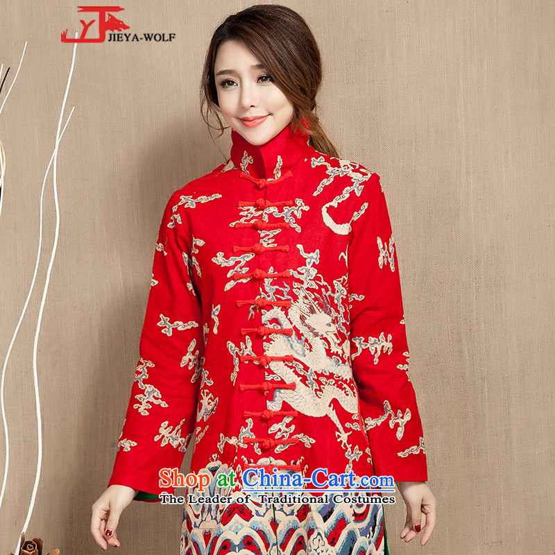 Tang Dynasty JIEYA-WOLF, women's long-sleeved spring and fall 12 ties cotton linen fashion, Ms. Tang dynasty national long skirt female red dragon stamp,?XXL