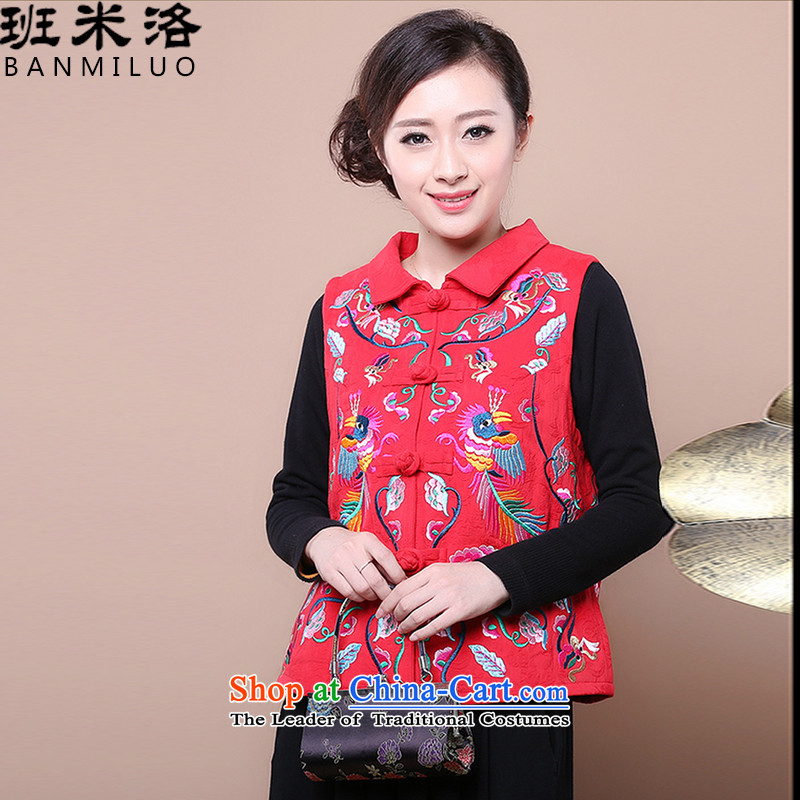 On the  load spring and autumn 2015, Tang Dynasty Large older Ms. embroidery Kampala shoulder ma folder vests, a girl of ethnic Chinese women's Red M