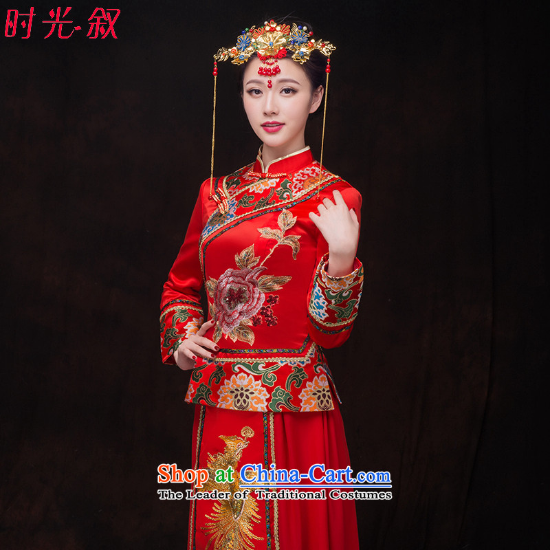 The bride-soo Wo Service bridal dresses Soo-load wo costume kimono bride wedding dress Chinese style wedding services marriage qipao toasting champagne bows services red聽XL