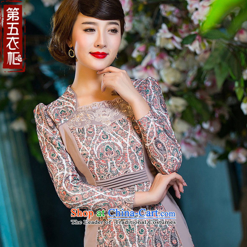 Eason Chan point cheongsam dress 2015 Autumn stylish improved long-sleeved Chinese Antique ethnic short of elegance dresses apricot?XXL