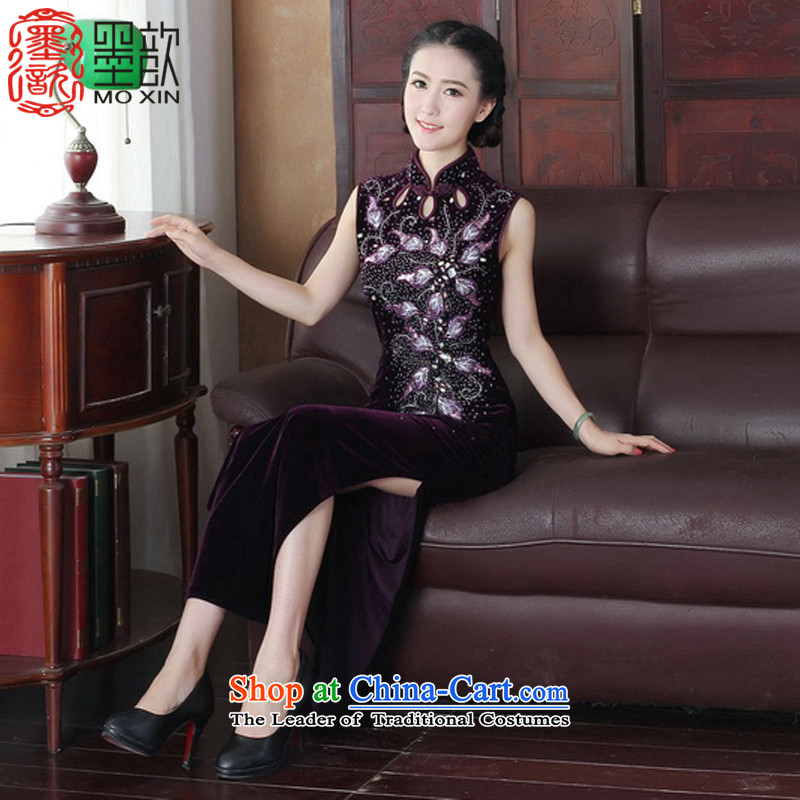 The laughter from the 2015 manually 歆 staples in the Pearl River Delta long skirt improved retro scouring pads qipao qipao gown cheongsam look like Ms. Qiu replacing Y2019 picture color L