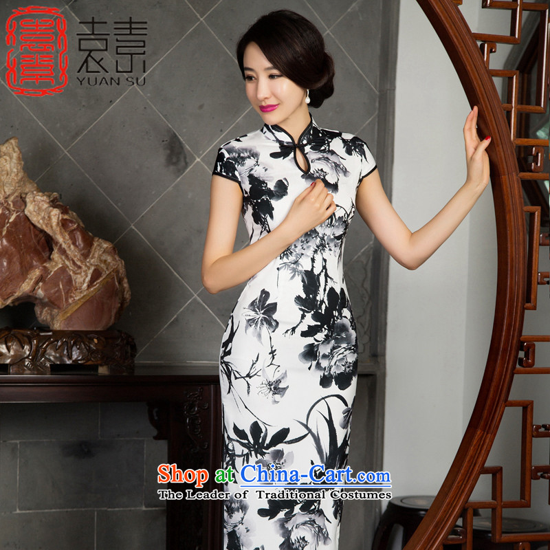Mr Yuen Long bamboo ink autumn of qipao improvement by replacing long long cheongsam dress retro look like new stylish cheongsam dress M11022 Ms. picture color L