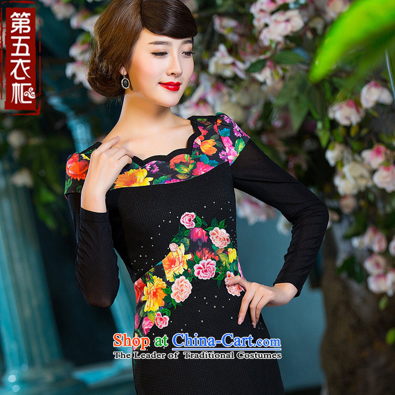 Eason Chan point cheongsam dress 2015 Autumn stylish improved long-sleeved Sau San video thin daily Chinese Ethnic Ms. dresses?XXXL turmeric yellow