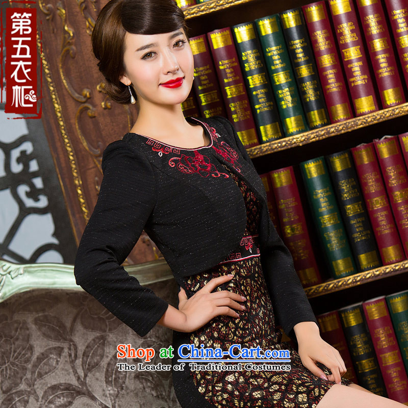 Eason Chan point cheongsam dress 2015 Autumn false two kits and stylish with short of mother improved long-sleeved Sau San daily dresses XXXL JPN
