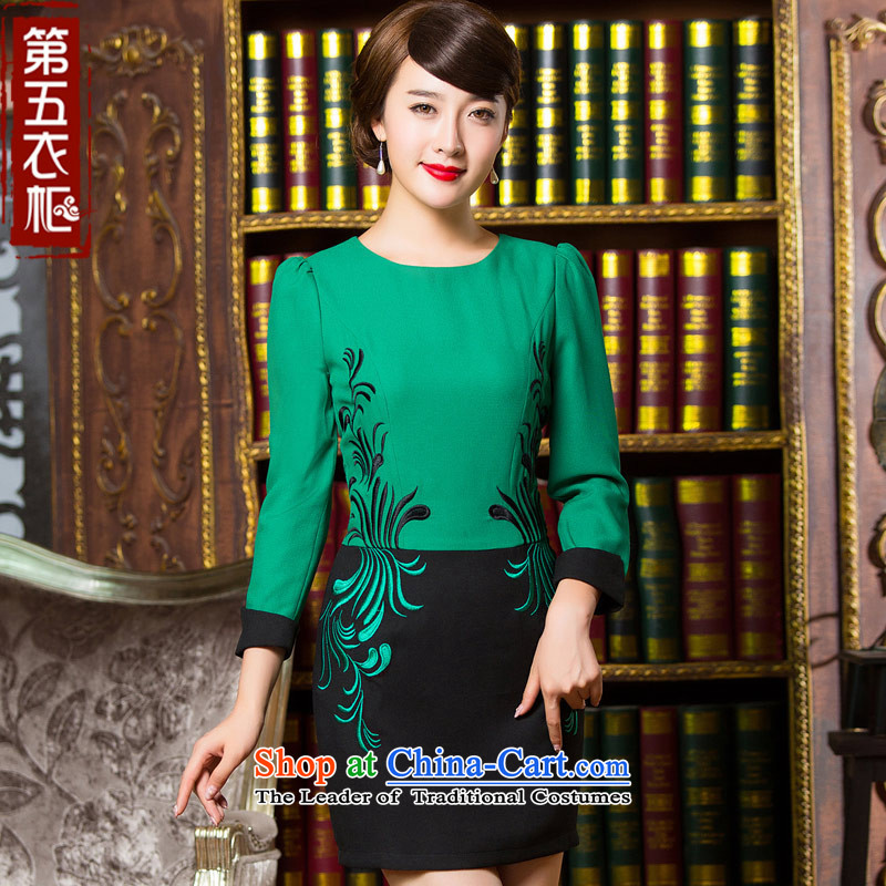 Eason Chan point cheongsam dress autumn 2015 replacing stylish improved long-sleeved Simple Chinese embroidery daily short of mother replacing dresses green S