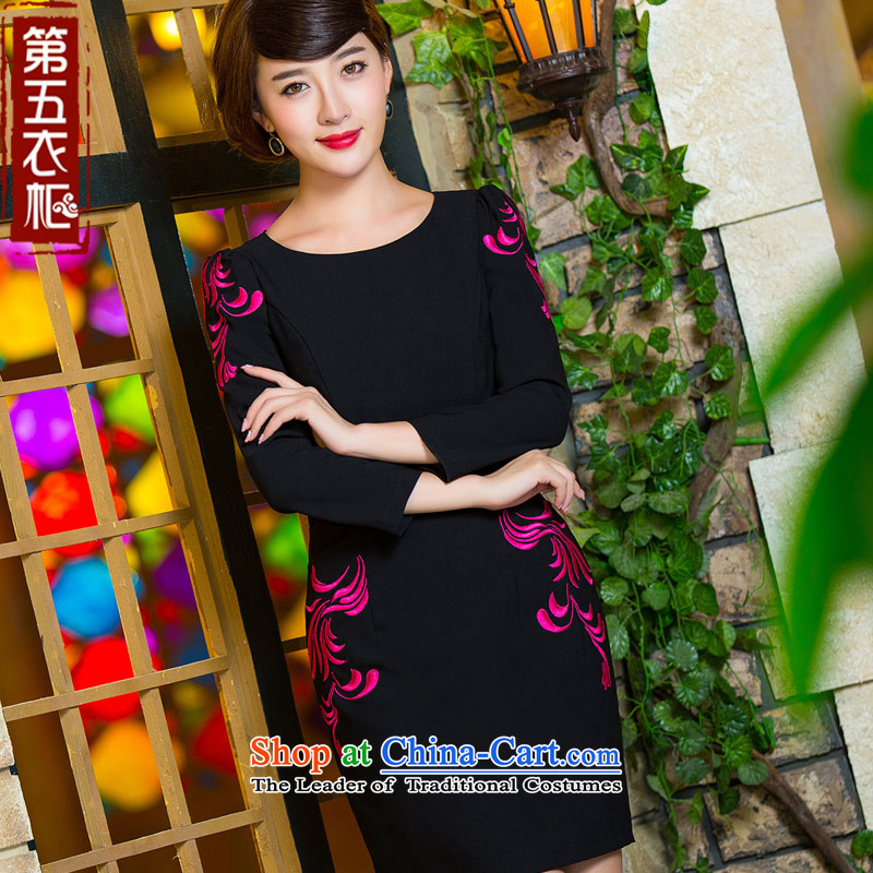 Eason Chan point cheongsam dress 2015 autumn and winter black graphics thin stylish improved round-neck collar Chinese Antique shortage of long-sleeved black skirt M