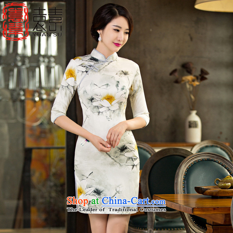 I should be grateful if you would have the pool of Yuen�Chau replacing qipao improvements by 2015 in the retro-sleeved qipao skirt the new double cheongsam dress dress tea service�M11032�picture color�XXL