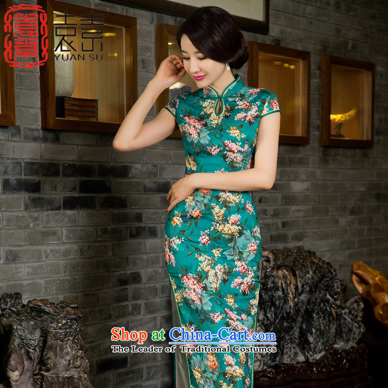 Yuan of floral arrangements 2015 Double long cheongsam with retro improved qipao autumn in long qipao gown temperament and stylish SAIKA M11030 green L