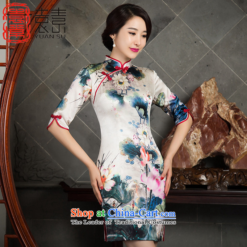 Mr Yuen Ching-lin of the燼utumn 2015 replacing heavyweight Silk Cheongsam improved 7 cuff retro cheongsam dress the new president cheongsam dress燬Z3S014爌icture color燲XL