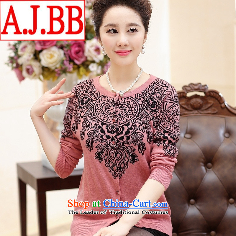 The elderly in The Black Butterfly women fall of major new code stamp knitting cardigan MOM pack sweater LADIES CARDIGAN pink XXXL_125_