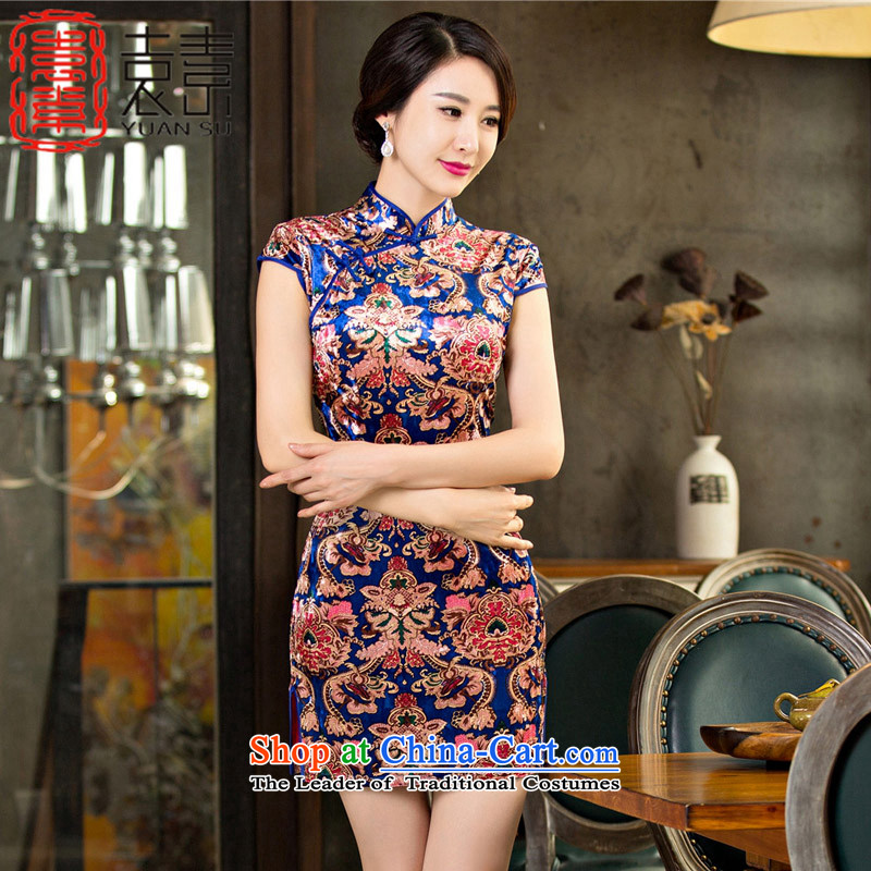 Yuan of autumn 2015 in Arabic on Lau qipao improved retro palace qipao skirt new wind loading the elderly in the qipao mother velvet M65097 qipao picture color M