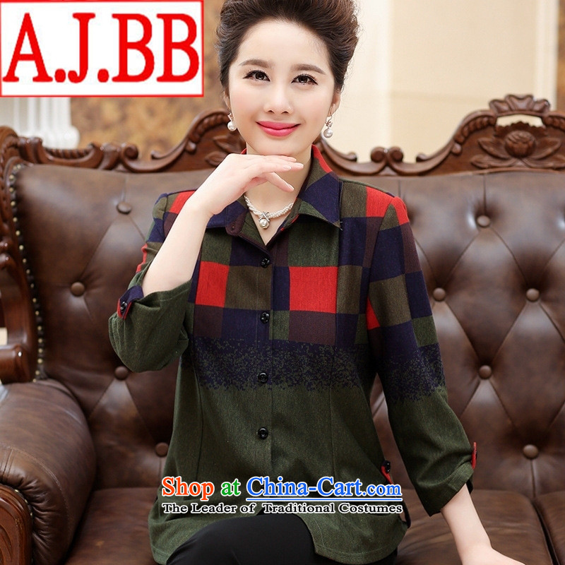 The Black Butterfly Older Women fall of leisure new long-sleeved shirt lapel large graphics load mother thin green shirt 4XL
