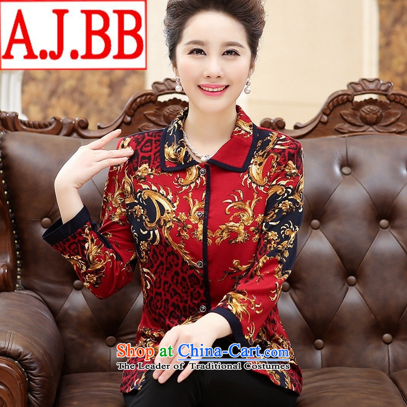 The Black Butterfly older female long-sleeved shirt autumn 2015 Stamp Pack China wind middle-aged moms with red shirt Ms. 4XL