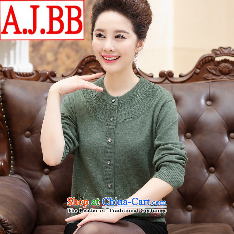 The elderly in The Black Butterfly female autumn woolen sweater cardigan large graphics thin mother Knitted Shirt Cardigan Red L