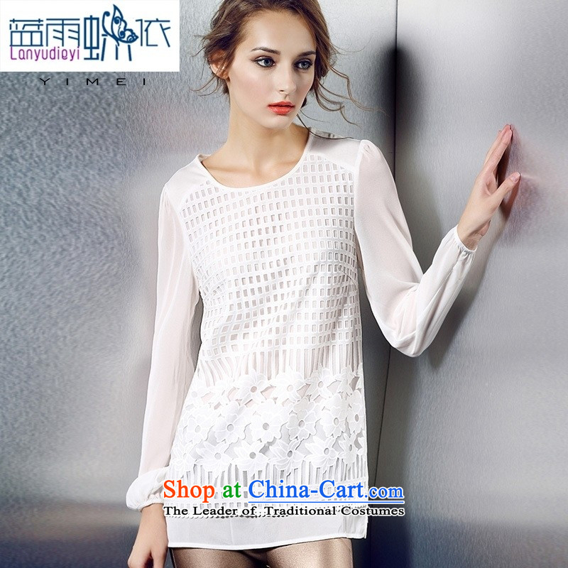 The European Women's site Hamilton new fall inside Europe XL T-shirt with round collar Sau San water-soluble spend long-sleeved shirt White XXL
