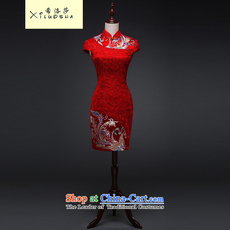Hillo XILUOSHA Lisa (qipao short of marriage) Bride Lace Embroidery 2015 New Phoenix qipao of Chinese Dress Red Red M bows