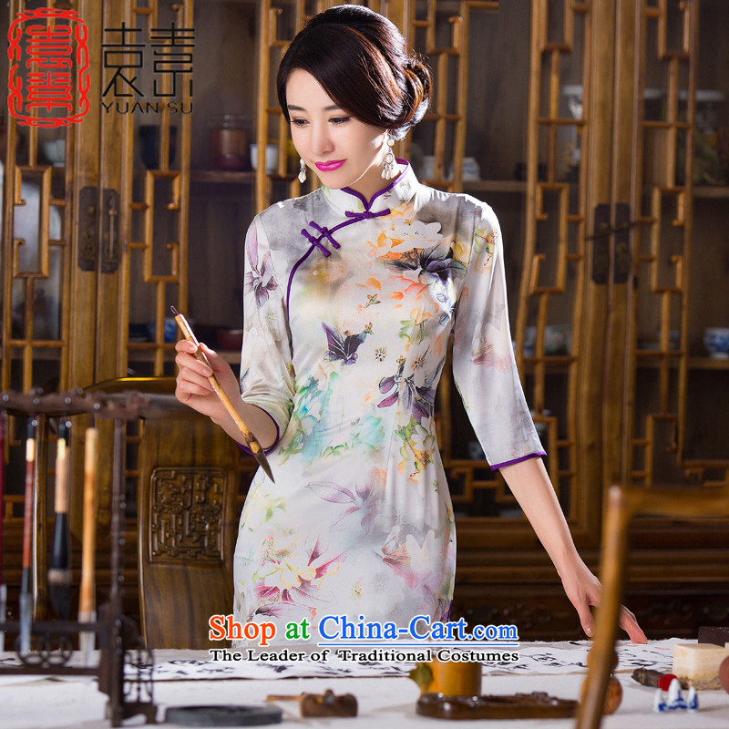 Yuan of Orchid Pavilion Stamp 7 cuff qipao skirt new stylish retro fitted qipao improved double autumn cheongsam dress聽QD279聽picture color Sau San聽XXL