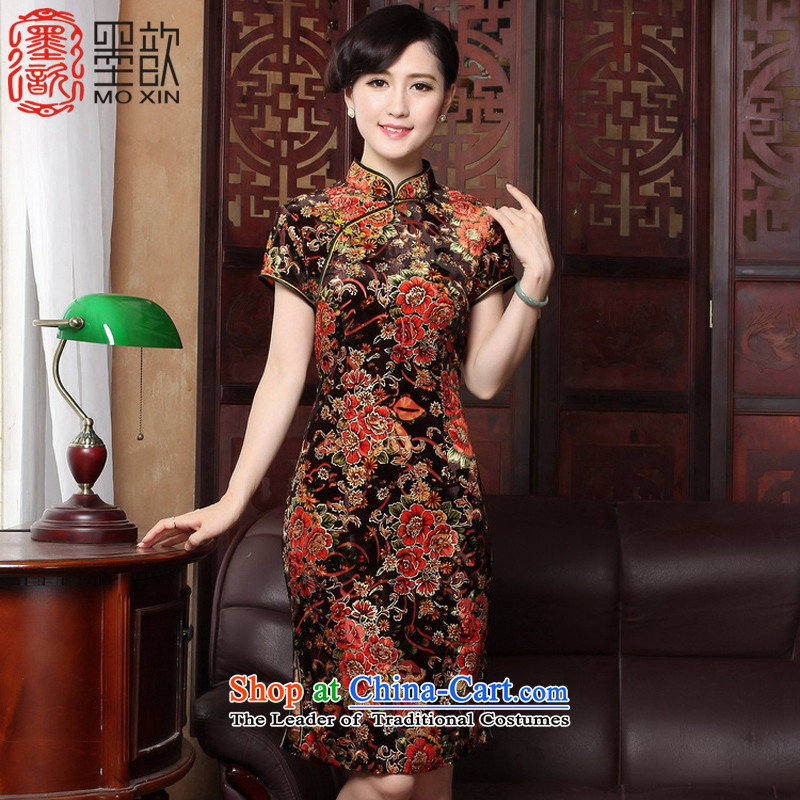 The print image autumn?2015 Kim 歆 scouring pads improved load mother load autumn qipao cheongsam dress in the retro look older cheongsam dress?Y3118?picture color?XL
