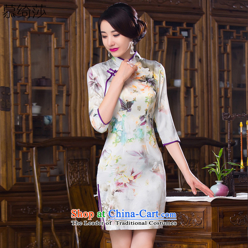 The cross-century?in 2015 ink Elizabeth cuff cheongsam with Stylish retro-chiu improved cheongsam dress new ink stamp cheongsam dress?QD279?picture color?L