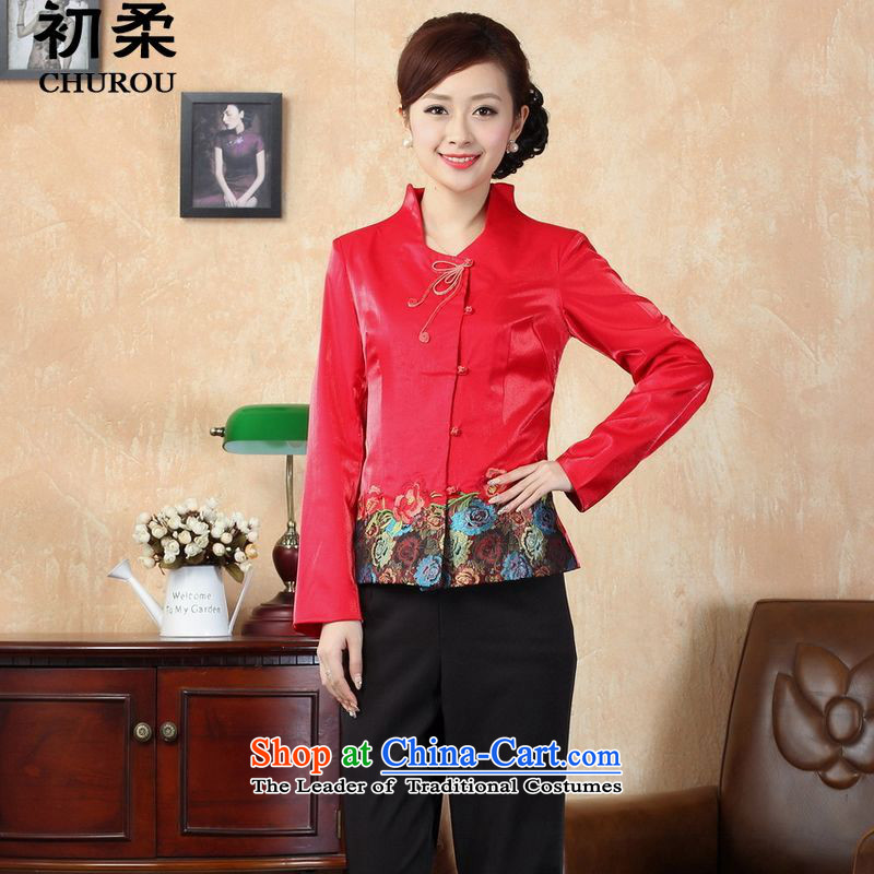 The early?autumn 2015, Sophie women of ethnic Chinese, Sau San Tong replacing elegant qipao long-sleeved shirt with female red T-shirt qipao autumn?XXL