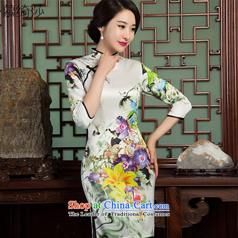 The cross-sa?2015 7-gel sleeves double improved cheongsam with retro style qipao autumn skirt new ethnic women?SZ3C001?picture color?L