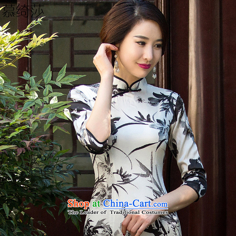 The cross-sa ink paintings of the�15 heavyweight silk cheongsam dress qipao load autumn improved New Ink Painting qipao燬Z3S002 Ms. sepia爌ictures color燣