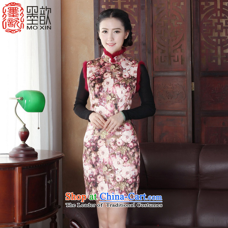 The Winter 2015 retro valin 歆 cheongsam dress Warm for gross cotton cheongsam dress Ms. Clip Fall_Winter Collections thick robe improved picture color 1 Y3126 QIPAO XXL