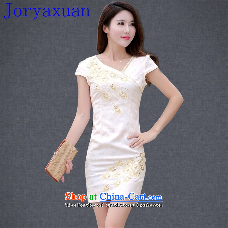 Deloitte Touche Tohmatsu fine shops qipao new daily cheongsam dress Sau San Peacock pushpins bead short-sleeved retro cheongsam dress apricot?S